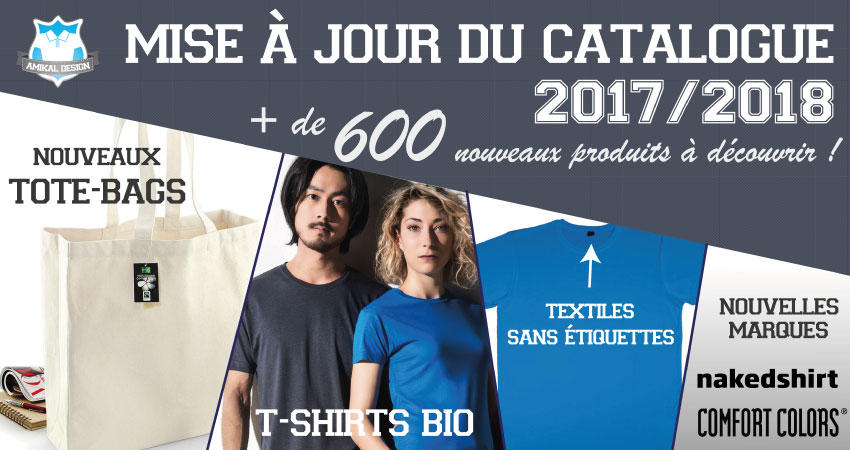 Mise à jour du catalogue textile - Septembre 2017