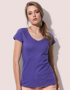 T-shirts col v flocage gris