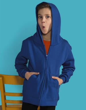 Sweats-shirts poly-coton avec zip broderie