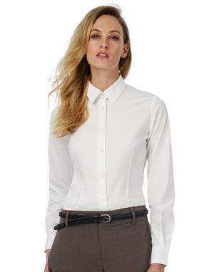 Ladies Black Tie Elastane Long Sleeve Poplin Shir