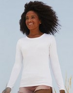 T-shirts femme avec elastanne Lady-Fit Long Sleeve Crew Neck T Fruit of the Loom