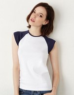 T-shirts femme bella Cap Sleeve Baseball Top Bella