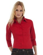 Chemises flocage Poplin Blouse with 3/4 Sleeves B & C
