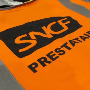 Gilets de sécurité sérigraphiés pour SNCF